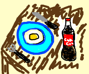 A healthy breakfast of fried eggs and Coke.