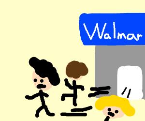 People run from walmart