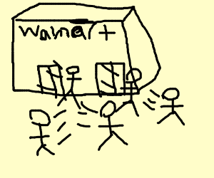 Walmart's out of fashion, people hurry outside