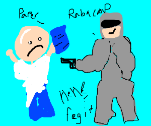 Robocop bullies bald guy for his blue papers
