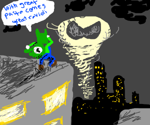 Luigi responds to the stache symbol in the sky