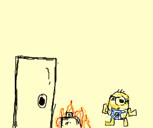 Minion leaves flaming bag at door, runs away