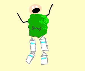 Man changes, legs become milk, torso peas