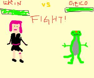 Erin Esurance Vs The Geico Gecko Drawception