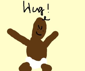 Brown baby wants hug. Now.