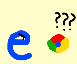 Internet Explorer upset that you use Google.