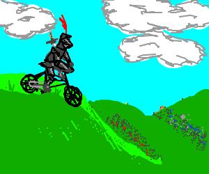 Bike knight on his way to work