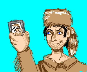 Davy Crockett takes selfies with phone