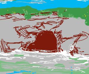 The hidden sea shore cave