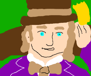 Willy Wonka holding the last golden ticket