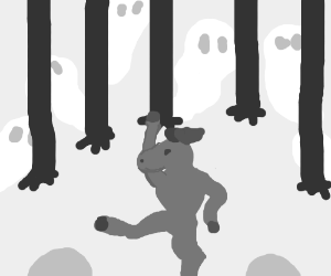 moose dances in haunted forest