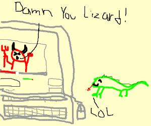 lizard traps satan in youtube video.