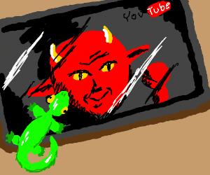 Lizard watching the devil's youtibe blog