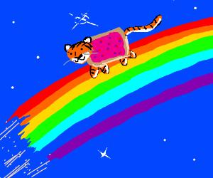 Nyantiger atop a rainbow