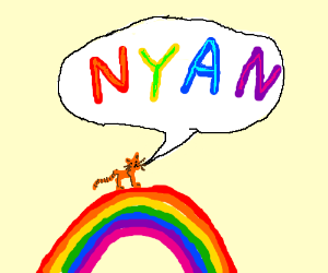 tiny orange cat says nyan