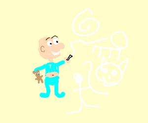A child draws randomly on this game