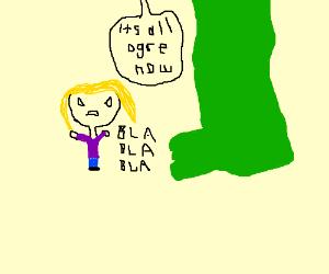 Blonde yelling at Shrek's foot