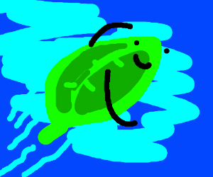 Leaf swimming in the ocean