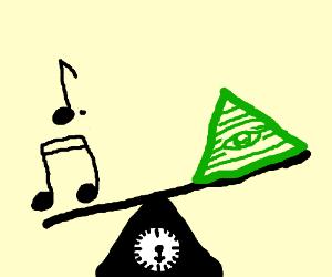 Music notes, yellow illuminati, 10 pounds
