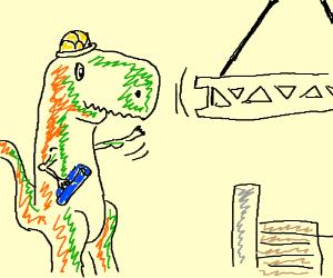 a dinosaur construction worker