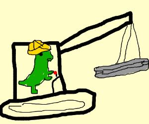 T -rex construction worker lowering a beam