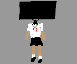 Japanese schoolgirl with TV for head