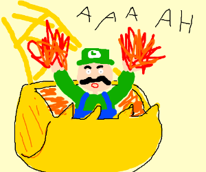 Luigi in drag with his arms on fire