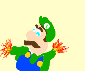 Luigi in a digger with fire hands