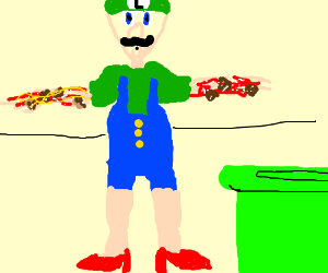 Luigi has spaghetti arms but beautiful legs