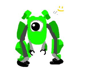 a cute green robot