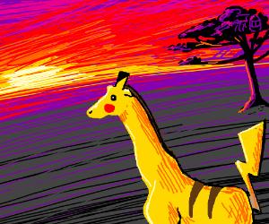 pikagiraffe watches plains sunset