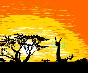 Majestic Girafachu roams Serengeti at Sunset