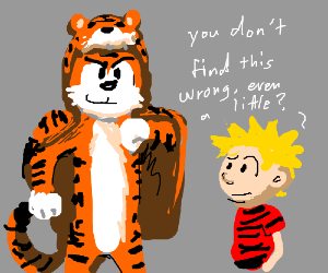 Calvin and Hobbes want a real tiger skin