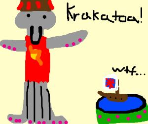 British ship witnesses Krakatoa.