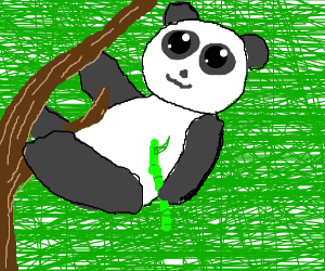 The panda climbed the tree with bamboo in paw