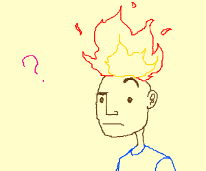 Puzzled guy wondering why his hair is on fire