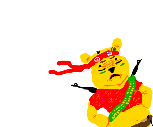Winne the pooh gears up for a firefight