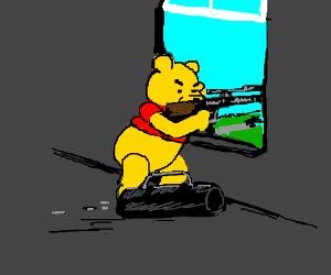 Winnie the Pooh as Lee Harvey Oswald.
