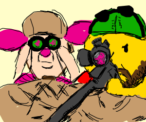 pooh the sniper, aiming at pink elephant