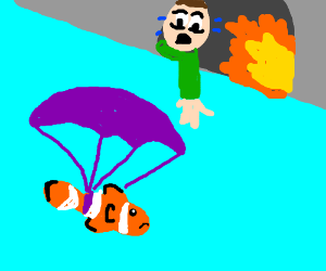 Only one parachute left?  Save the clownfish!