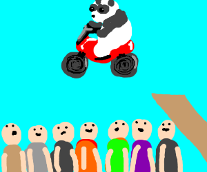 A panda doing a motorcycle jump