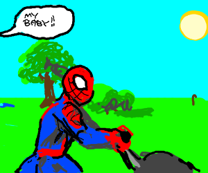 Spiderman takes a stroll in the park.