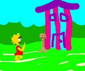 Hansel and Lisa Simpson walk to candy house
