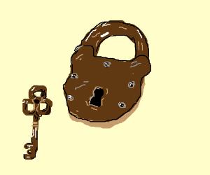 rusty old padlock with inaccurate key