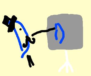A blue D drawing itself