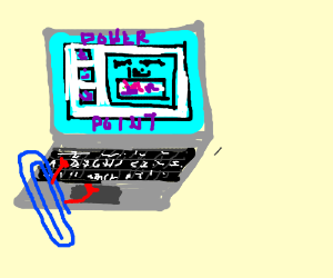 Blue paperclip can powerpoint