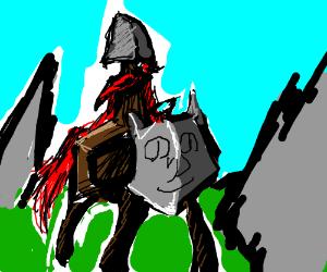 Shovel man rides a shovel horse