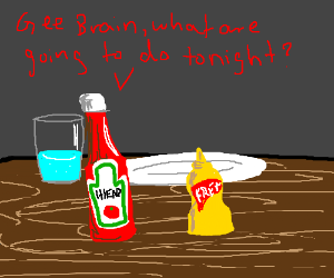 condiments at a table roleplay pinky & brain
