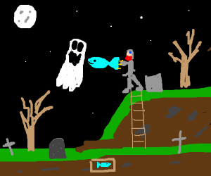 Knight fights ghosts with a fish.