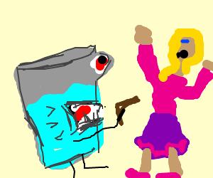 evil glass of water holding gun threatens girl